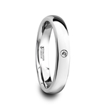 GALE Polished and Domed Tungsten Carbide Wedding Ring with White Diamond - 4mm & 6mm