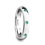 CHLOE Polished and Domed Tungsten Carbide Wedding Ring with 3 Green Emeralds Setting - 4mm