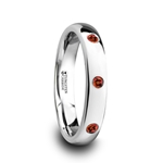 MAERA Polished and Domed Tungsten Carbide Wedding Ring with 3 Red Rubies Setting - 4mm
