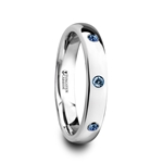 HALIA Polished and Domed Tungsten Carbide Wedding Ring with 3 Blue Sapphires Setting - 4mm
