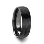 RENEGADE Domed Hammer Finish Black Tungsten Carbide Wedding Band with Brushed Finish - 6mm & 8mm