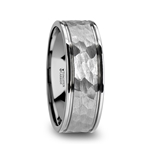 THORNTON Hammered Finish Center White Tungsten Carbide Wedding Band with Dual Offset Grooves and Polished Edges 6mm and 8 mm