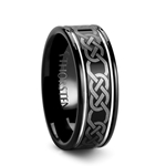 KILKENNY Black Tungsten Carbide Ring with Celtic Pattern - 8mm
