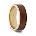 AURELIAN 14K Pipe Cut Yellow Gold Ring Wedding Band with Rare Koa Wood Inlay and Polished Edges - 8mm