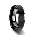 WARRIOR Raised Hammer Finish Step Edge Black Ceramic Carbide Wedding Band with Brushed Finish - 8mm