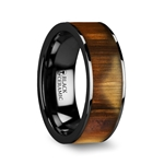 MARTIN Olive Wood Inlaid Flat Black Ceramic Ring with Polished Edges - 8mm