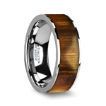 OLIVASTER Olive Wood Inlaid Flat Tungsten Carbide Ring with Polished Edges - 8mm