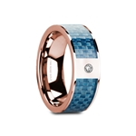 GARTH Flat Polished 14K Rose Gold with Blue Carbon Fiber Inlay & White Diamond Setting - 8mm