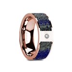 GALLUS Flat Polished 14K Rose Gold with Blue Lapis Lazuli Inlay with White Diamond Setting - 8mm