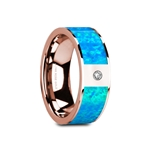 GAIOS Flat Polished 14K Rose Gold with Blue Opal Inlay & White Diamond Setting - 8mm
