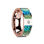 GRETAL Flat Polished 14K Rose Gold  Mother of Pearl Inlay & White Diamond Setting - 8mm