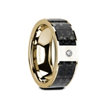 GAUFRID Flat Polished 14K Yellow Gold Blue Dinosaur Bone Inlay with White Diamond Setting - 8mm