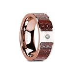 GREUV Flat Polished 14K Rose Gold Red Dinosaur Bone Inlay with White Diamond Setting - 8mm
