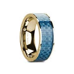 GERYON Flat Polished 14K Yellow Gold with Blue Carbon Fiber Inlay - 8mm