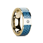GILES Flat Polished 14K Yellow Gold with Blue Carbon Fiber Inlay & White Diamond Setting - 8mm