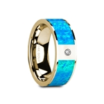 GELASIA Flat Polished 14K Yellow Gold with Blue Opal Inlay & White Diamond Setting - 8mm