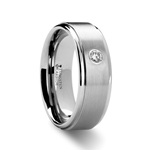 BRIGHTON Diamond Set Tungsten Ring - 8 mm