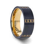 MURAMASA Flat Brushed Black Tungsten Ring with Gold Plated Inside and 6 Gold Plated Stainless Steel Bezels with Triple Black Diamond Setting - 8mm