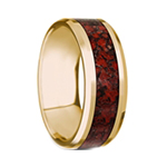 PYRA Beveled Polished 14K Yellow Gold Red Dinosaur Bone - 8mm