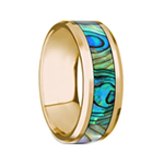 NACRE Beveled Polished 14K Yellow Gold Mother of Pearl Inlay - 8mm