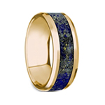 LAZARUS Beveled Polished 14K Yellow Gold Blue Lapis Lazuli Inlay - 8mm