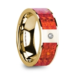 AGOTA Flat Polished 14K Yellow Gold with Red Opal Inlay & Diamond Setting - 8mm