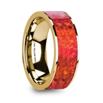 AEMBRUS Flat Polished 14K Yellow Gold with Red Opal Inlay - 8mm