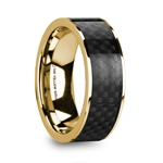 BARUCH Polished 14k Yellow Gold Men's Wedding Ring with Black Carbon Fiber Inlay - 8mm