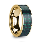 HALI Black & Green Carbon Fiber Inlaid 14k Yellow Gold Men's Wedding Ring with Polished Finish - 8mm