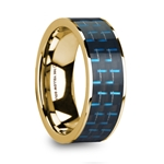 DENYS Polished 14k Yellow Gold Men's Wedding Ring with Black & Blue Carbon Fiber Inlay - 8mm