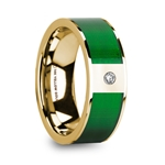 DINOS Polished 14k Yellow Gold & Textured Green Inlay Men's Wedding Ring with Diamond - 8mm