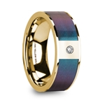 EUSEBIOS 14K Polished Yellow Gold Men's Ring with Blue/Purple Color Changing Inlay & Diamond - 8mm