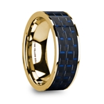 GREGOR Men's Polished 14k Yellow Gold Flat Wedding Ring with Blue & Black Carbon Fiber Inlay - 8mm