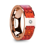 GIANNES Red Opal Inlaid Polished 14k Rose Gold Men's Wedding Ring with Diamond Accent - 8mm
