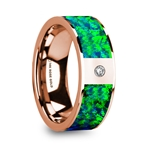 HERCULES Men's Polished 14k Rose Gold & Green/Blue Opal Inlay Wedding Ring with Diamond - 8mm