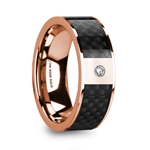 HERMES Black Carbon Fiber Inlaid 14k Rose Gold Polished Ring with Diamond Accent - 8mm