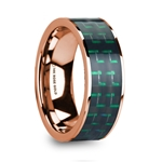 ISADORIOS Men's Polished 14k Rose Gold Flat Ring with Black & Green Carbon Fiber Inlay - 8mm