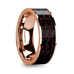 KRISTOS Men's 14k Rose Gold Flat Wedding Band with Black & Red Carbon Fiber - 8mm