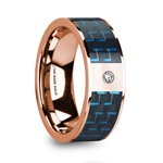 KYROS Polished 14k Rose Gold Diamond Wedding Ring with Blue & Black Carbon Fiber Inlay - 8mm