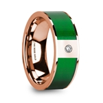 LEANDROS Polished 14k Rose Gold & Textured Green Inlaid Men's Wedding Ring with Diamond Accent - 8mm