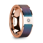 LUKAS 14K Polished Rose Gold Wedding Ring with Blue & Purple Color Changing Inlay & Diamond - 8mm