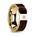 PANTHERAS Polished 14k Yellow Gold Men's Wedding Band with Black Walnut Inlay & Diamond - 8mm