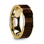 PELAGIA Men's Polished 14k Yellow Gold & Black Walnut Inlay Wedding Ring - 8mm