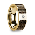 PHILANDROS Polished 14k Yellow Gold & Brown Dinosaur Bone Inlay Men's Wedding Band with Diamond - 8mm