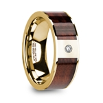 PHOCAS 14k Yellow Gold Men's Polished Wedding Band with Red Wood Inlay & Diamond - 8mm