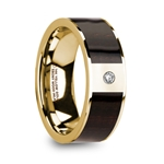 SERGIOS Men's 14k Yellow Gold & Ebony Wood Inlay Flat Wedding Ring with Diamond Center - 8mm