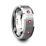 NEREUS Brushed Tungsten Flat Wedding Band with Polished Beveled Edges & Rubies - 8mm