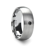 PERSEID Tungsten Carbide Brushed Finish Domed Ring with Black Diamond - 6mm & 8mm