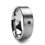 IRENAEUS Flat Brushed Tungsten Men's Wedding Ring with Black Diamond - 6mm & 8mm