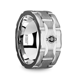 SAINT Brushed Tungsten Wedding Band with Grooves & Black Diamond - 10mm